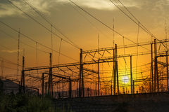 High Voltage electric substation Stock Image