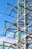 High voltage electric tower against the blue sky. Power transmission line Royalty Free Stock Photo
