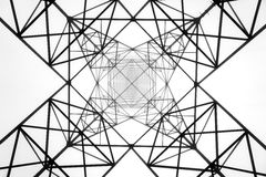 High voltage electric tower. Black and white Royalty Free Stock Image