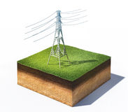 High voltage electric tower. 3d illustration of high voltage electric tower standing on cross section of ground with grass isolated on white Royalty Free Stock Photo
