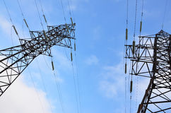 High Voltage Electric Tower. Electricity transmission pylon Stock Photos