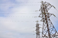 High Voltage Electric Tower. Electricity transmission pylon Stock Photography