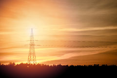 High Voltage Electric Tower. In the industrial zone Royalty Free Stock Image