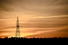 High Voltage Electric Tower. In the industrial zone Stock Photo