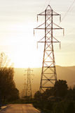 High voltage electric tower line Stock Images