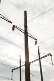 High Voltage Electric Tower. Power concept. With cloud sky. And sun light Stock Images