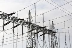 High Voltage Electric Tower. Power concept. India, Tamil Nadu Royalty Free Stock Photography