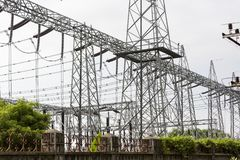High Voltage Electric Tower. Power concept. India, Tamil Nadu Royalty Free Stock Image
