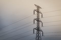High voltage electric tower. Power tower royalty free stock image