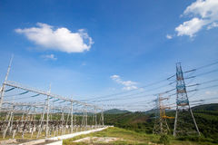 High voltage electric tower and transformer substation Royalty Free Stock Photo