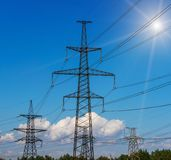 High Voltage Electric Transmission Tower Energy Pylon. High Voltage Electric Transmission Tower Energy Pylon Royalty Free Stock Image