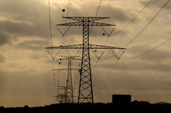 High Voltage Electric Transmission Tower. Energy Pylon stock image