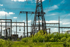 High voltage electric transmission tower energy pylon.  royalty free stock images