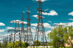 High voltage electric transmission tower energy pylon.  royalty free stock photo