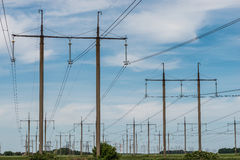 High voltage electric transmission tower energy pylon Stock Photo
