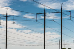 High voltage electric transmission tower energy pylon.  royalty free stock photography