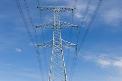 High Voltage Electric Transmission Tower. Metal support stock photos