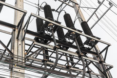 High voltage electrical distribution station Royalty Free Stock Images