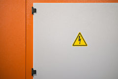 High voltage electrical hazard. Sign on a machine stock photos
