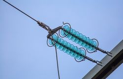 High-voltage electrical insulator electric line Royalty Free Stock Photos