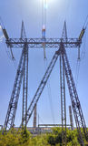 High voltage electrical overhead line Stock Photography