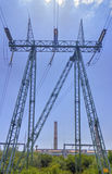 High voltage electrical overhead line Royalty Free Stock Photos
