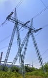 High voltage electrical overhead line Royalty Free Stock Photo