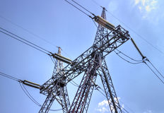 High Voltage Electrical Overhead Lines Royalty Free Stock Image