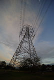 High Voltage Electrical Pole Structure. Silhouette of High Voltage Electrical Pole Structure Stock Photo