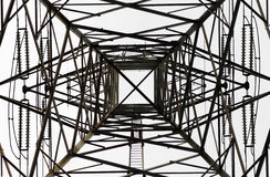 High Voltage Electrical Pole Structure. Taken from underneath Royalty Free Stock Images
