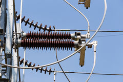 High voltage electrical power insulators Stock Photo
