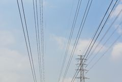 High voltage electrical power wire and post Stock Photos