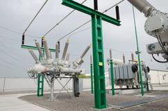 High voltage electrical substation Stock Photo