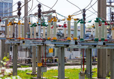High voltage electrical substation Royalty Free Stock Photography