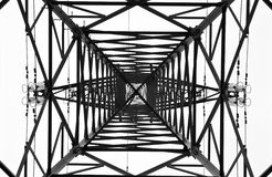 High voltage electrical tower. From below royalty free stock image