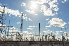 High voltage electrical  towers Stock Images