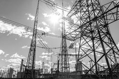 High voltage electrical  towers Royalty Free Stock Images