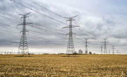 High Voltage Electrical Transformer Towers Royalty Free Stock Photography