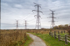 High Voltage Electrical Transformer Towers. Wires rn Royalty Free Stock Photography