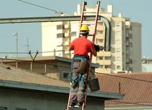 High voltage electrician working in the high voltage cables Royalty Free Stock Images