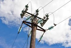 High voltage electricity. Pylon for the transport and transformation from high to low voltage stock photography