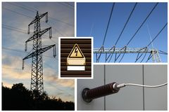 High voltage electricity network mix Stock Photo
