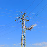High voltage electricity pillars Royalty Free Stock Images