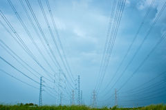High voltage. The high voltage electricity post in thailand stock image