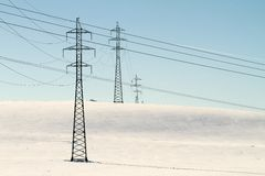 High voltage electricity power pylon Royalty Free Stock Photography