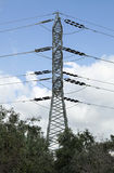 Electricity Pylon. High-Voltage electricity pylon behind some trees on the background of afternoon cloudy sky Royalty Free Stock Photos