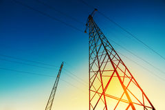 High voltage electricity pylon with wires, low wide angle view Stock Images