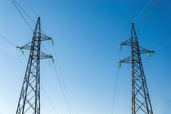 High-voltage electricity pylons Royalty Free Stock Photo