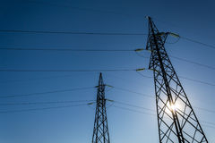 High-voltage electricity pylons Royalty Free Stock Image