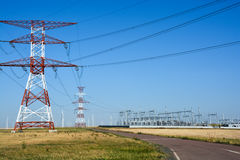 High voltage electricity tower Stock Photo